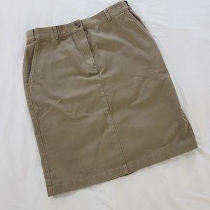 L.L. Bean Tan 100% Cotton Skirt Size 6